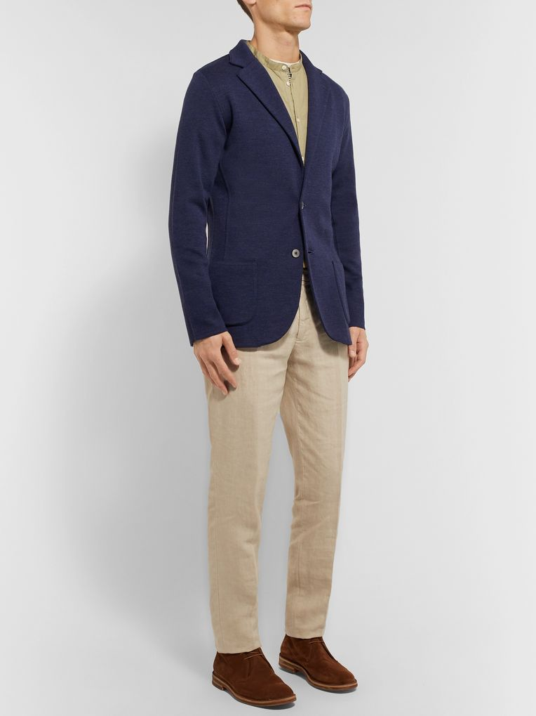 Massimo Alba Grandad-Collar Poplin-Trimmed Twill Half-Placket Shirt