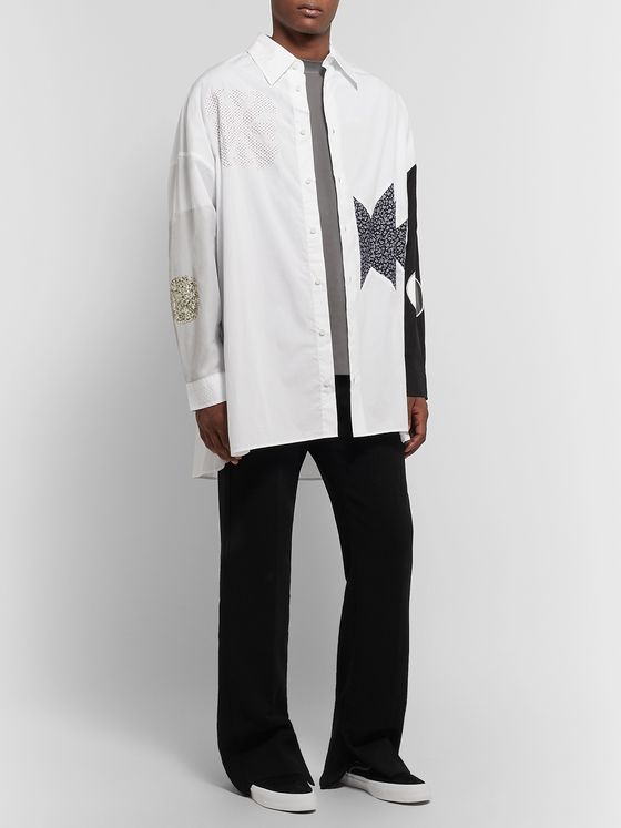 AMBUSH® Oversized Appliquéd Cotton-Poplin Shirt