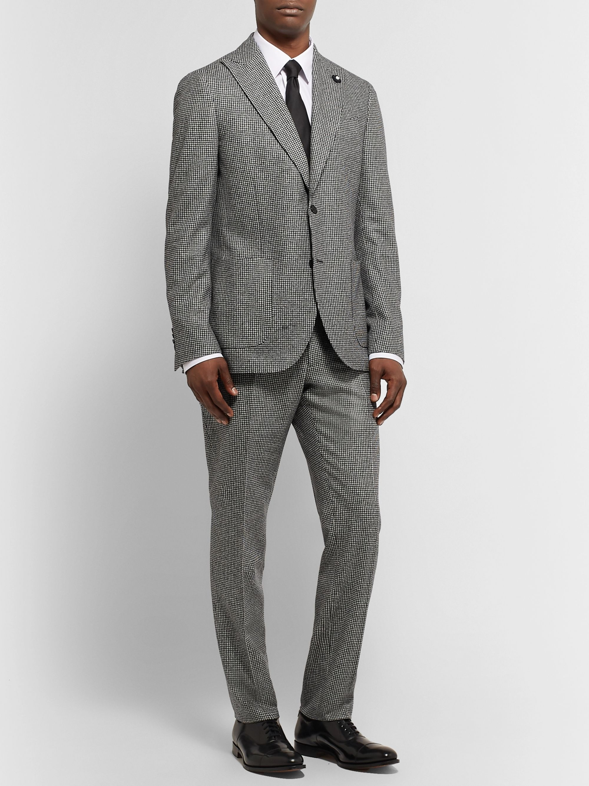 Lardini Slim-Fit Puppytooth Wool Suit Trousers
