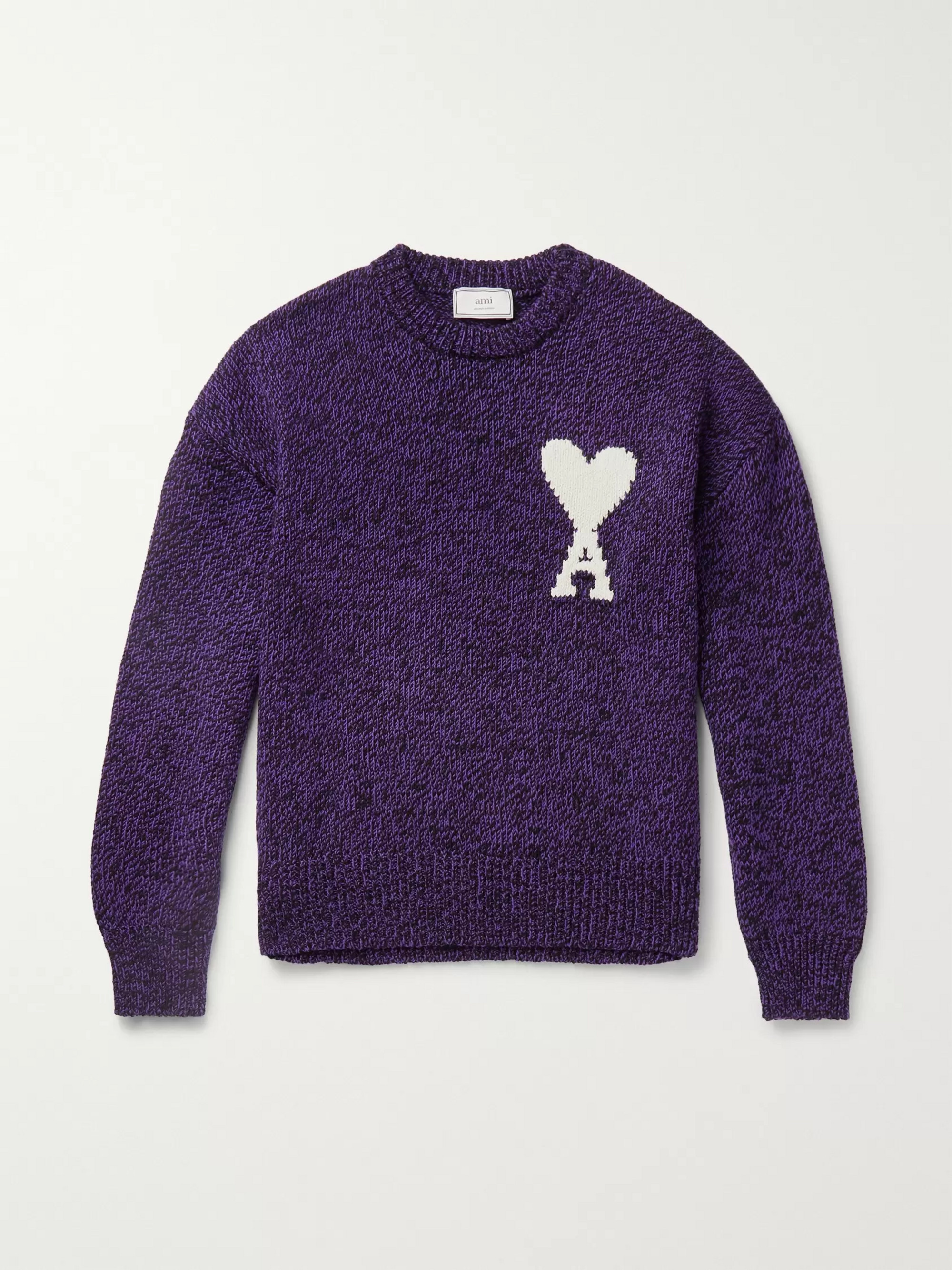 AMI Oversized Logo-Intarsia Cotton and Merino Wool-Blend Sweater