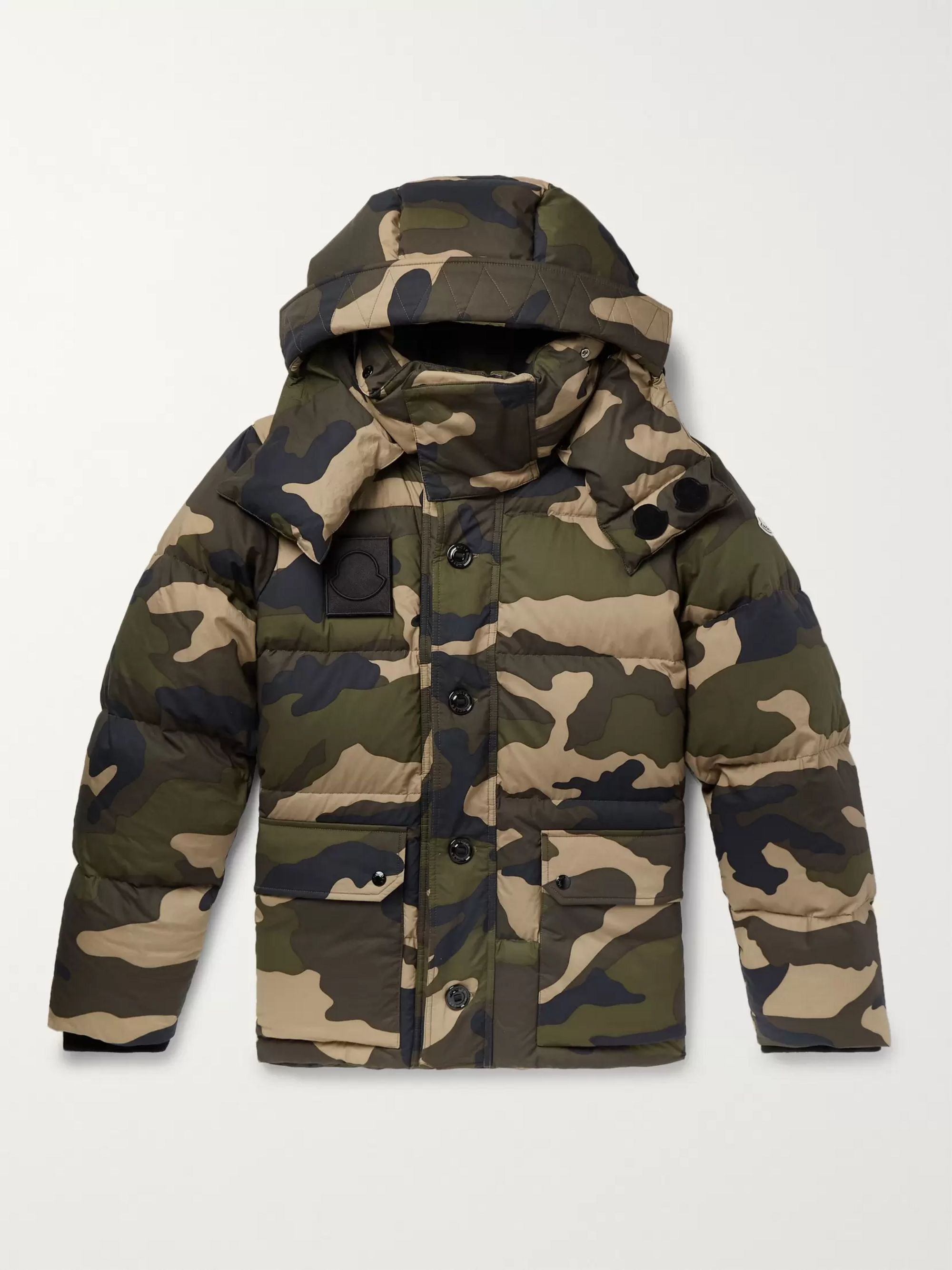 Dary Slim Fit Camouflage Print Quilted Cotton Shell Hooded Down Jacket by Moncler