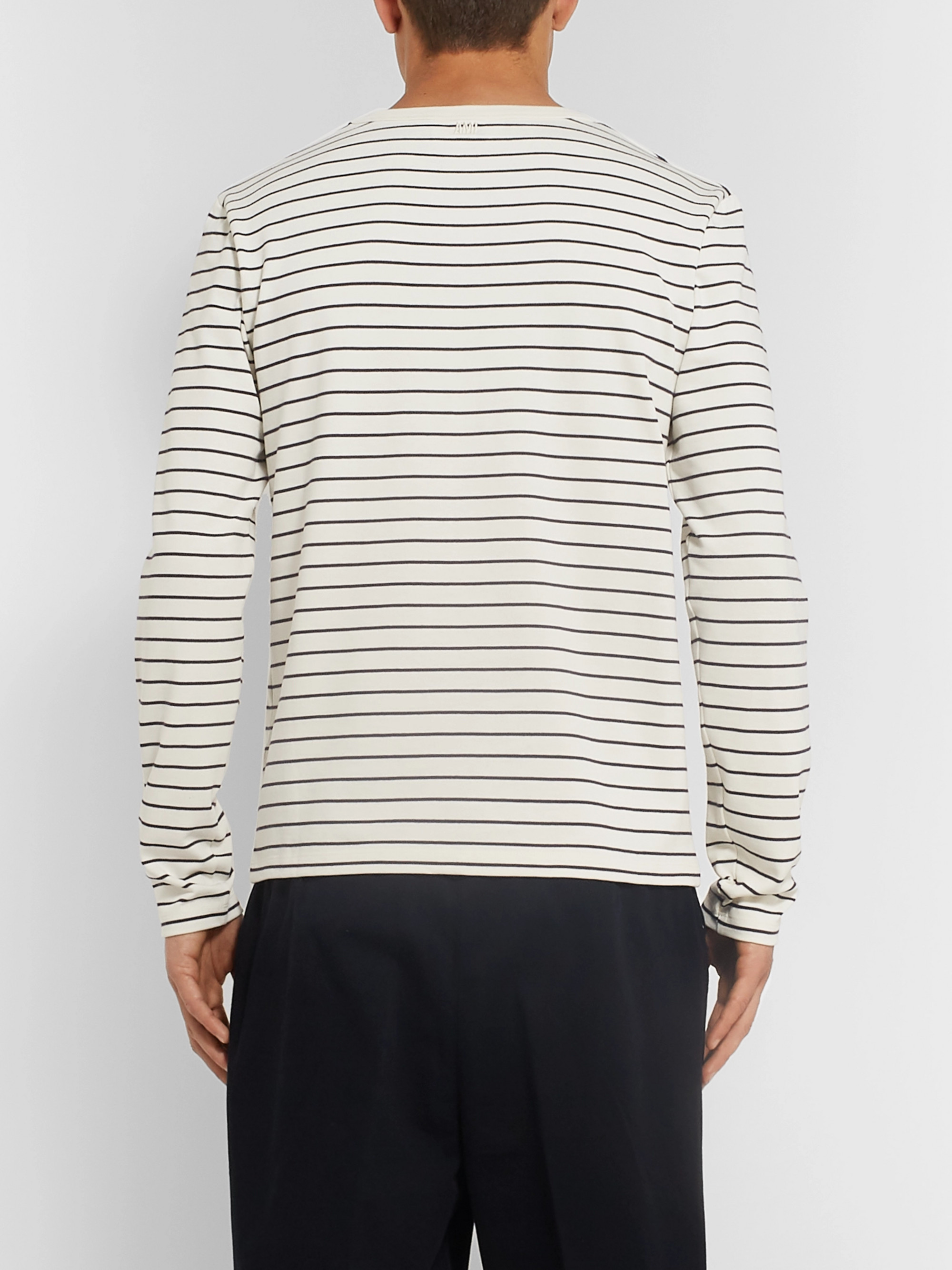 AMI Striped Logo-Appliquéd Cotton-Jersey T-Shirt