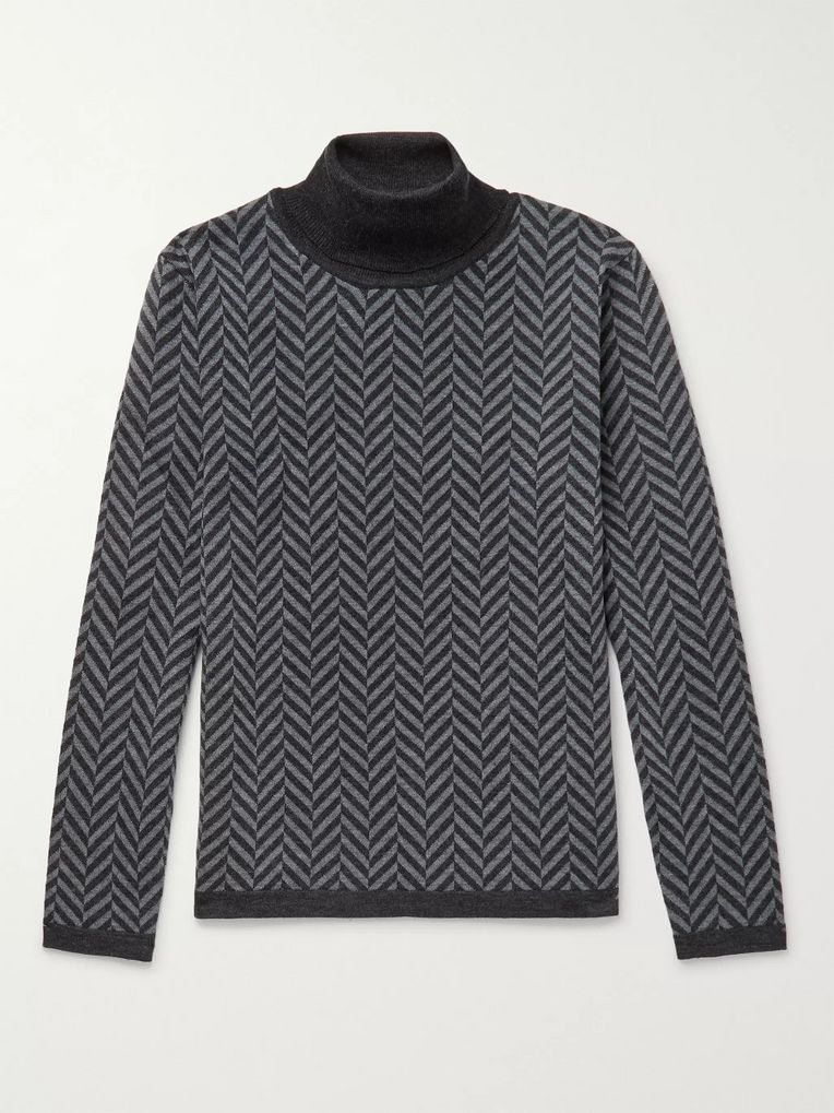 Barena Herringbone Virgin Wool Rollneck Sweater