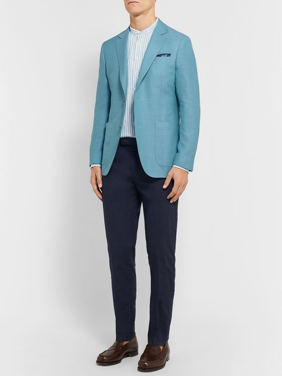 Richard James Blue Wool-Hopsack Blazer