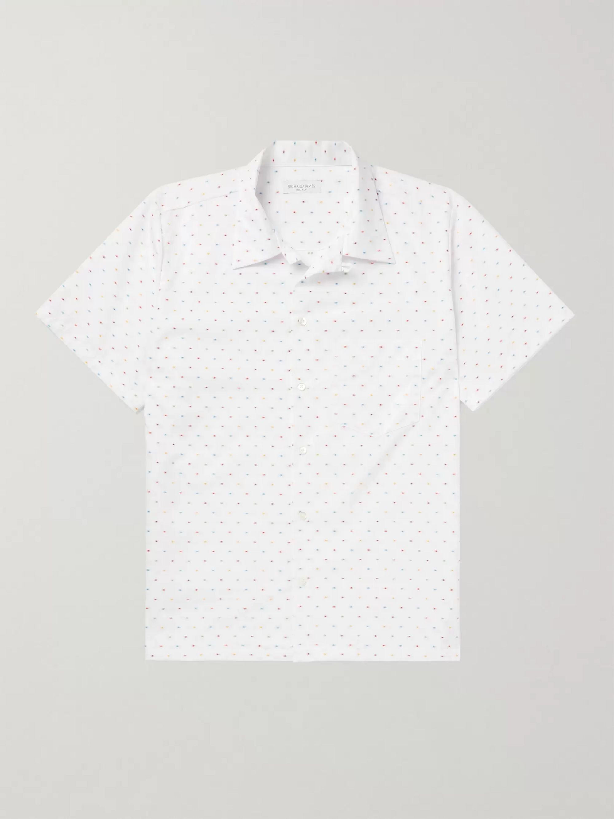 Richard James Camp-Collar Striped Cotton-Poplin Shirt