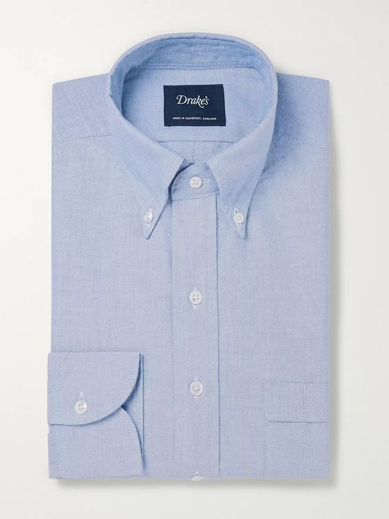 Drake's Light-Blue Easyday Button-Down Collar Cotton Oxford Shirt