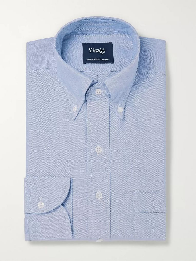 Drake's White Easyday Button-Down Collar Cotton Oxford Shirt