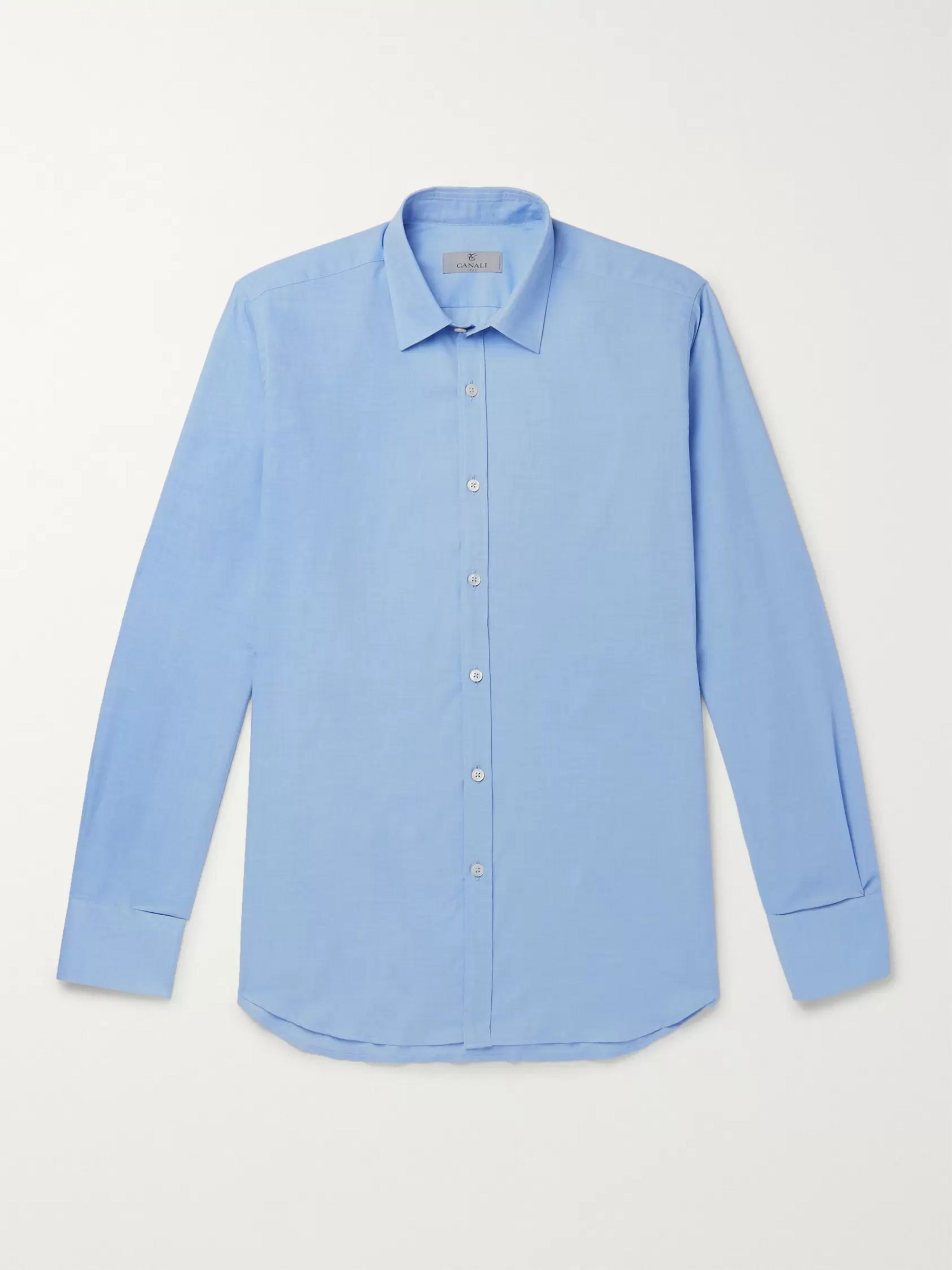 Canali Blue Cotton and Cashmere-Blend Shirt