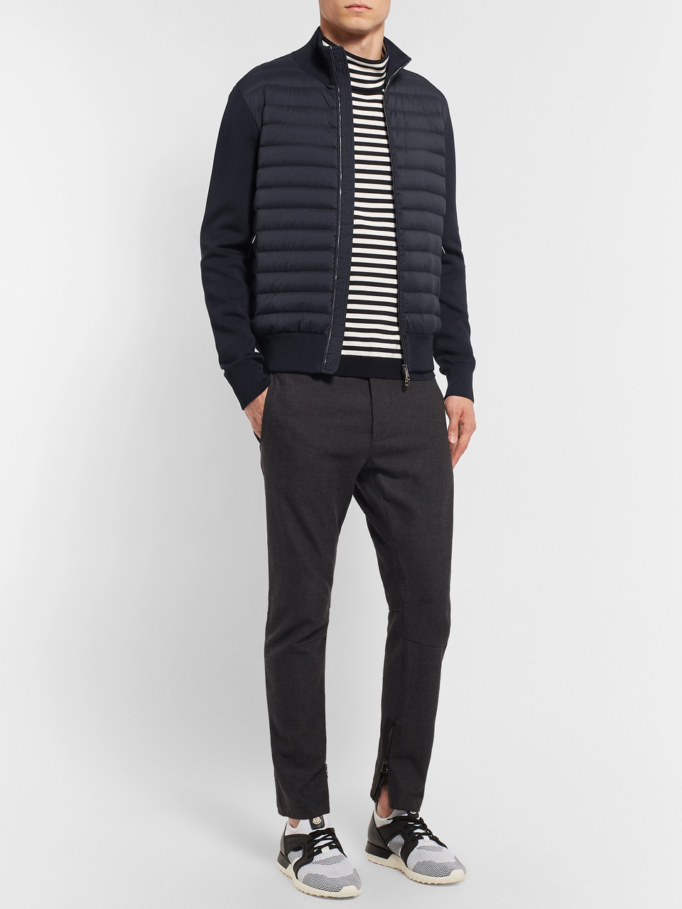 Moncler Slim-Fit Panelled Cotton-Blend Jersey and Quilted Shell Down Zip-Up Sweater