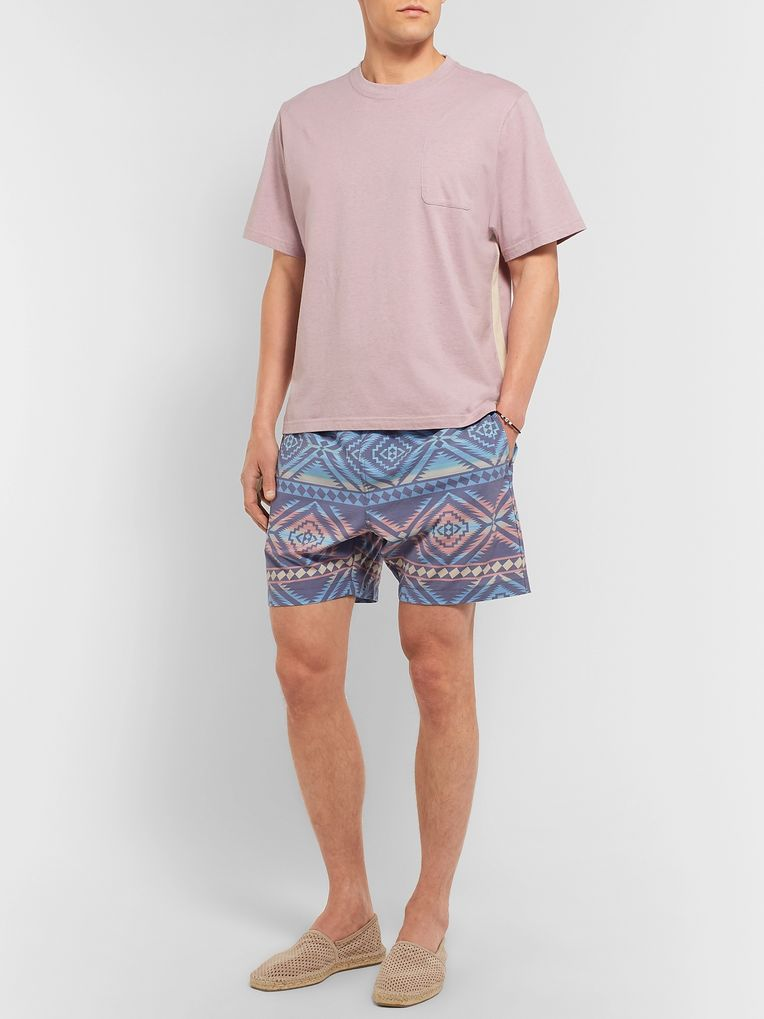 Faherty Beacon Wide-Leg Mid-Length Printed Swim Shorts