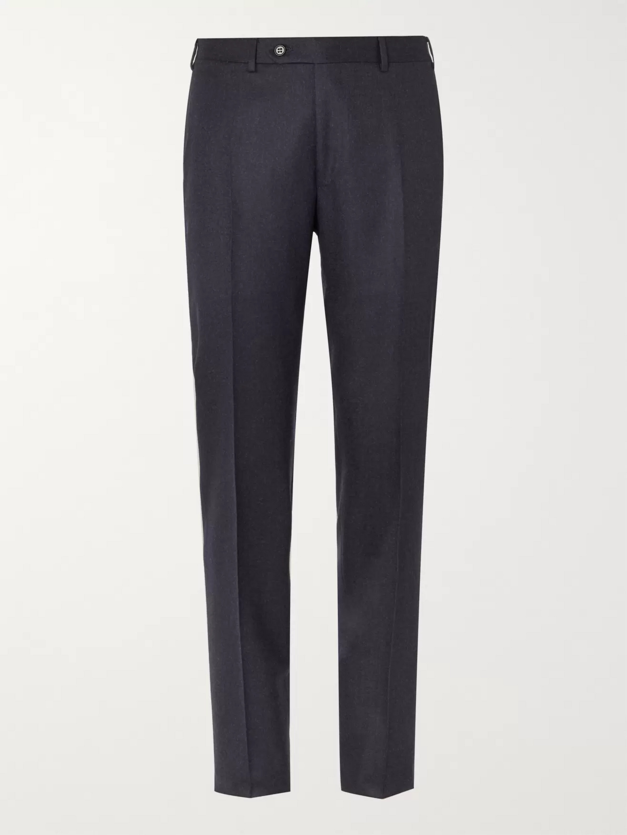 Canali Charcoal Slim-Fit Mélange Super 120s Brushed-Wool Suit Trousers