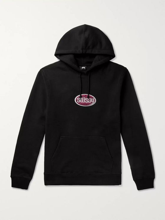 Stüssy Logo-Appliquéd Fleece-Back Cotton-Blend Jersey Hoodie