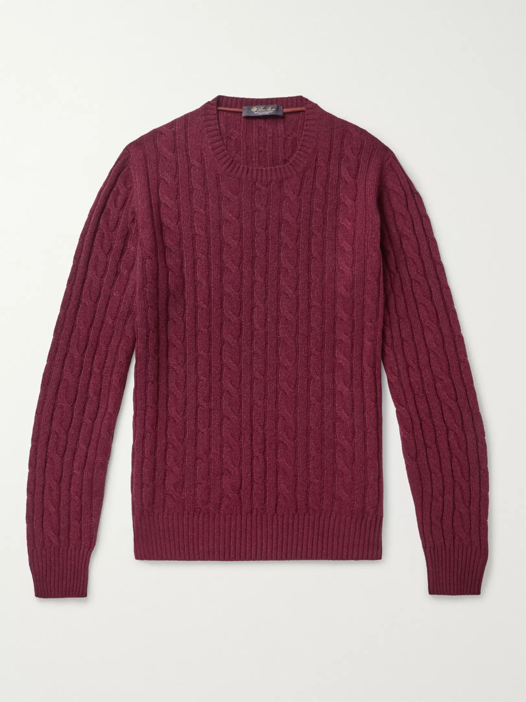 Loro Piana Girocollo Slim-Fit Cable-Knit Baby Cashmere Sweater