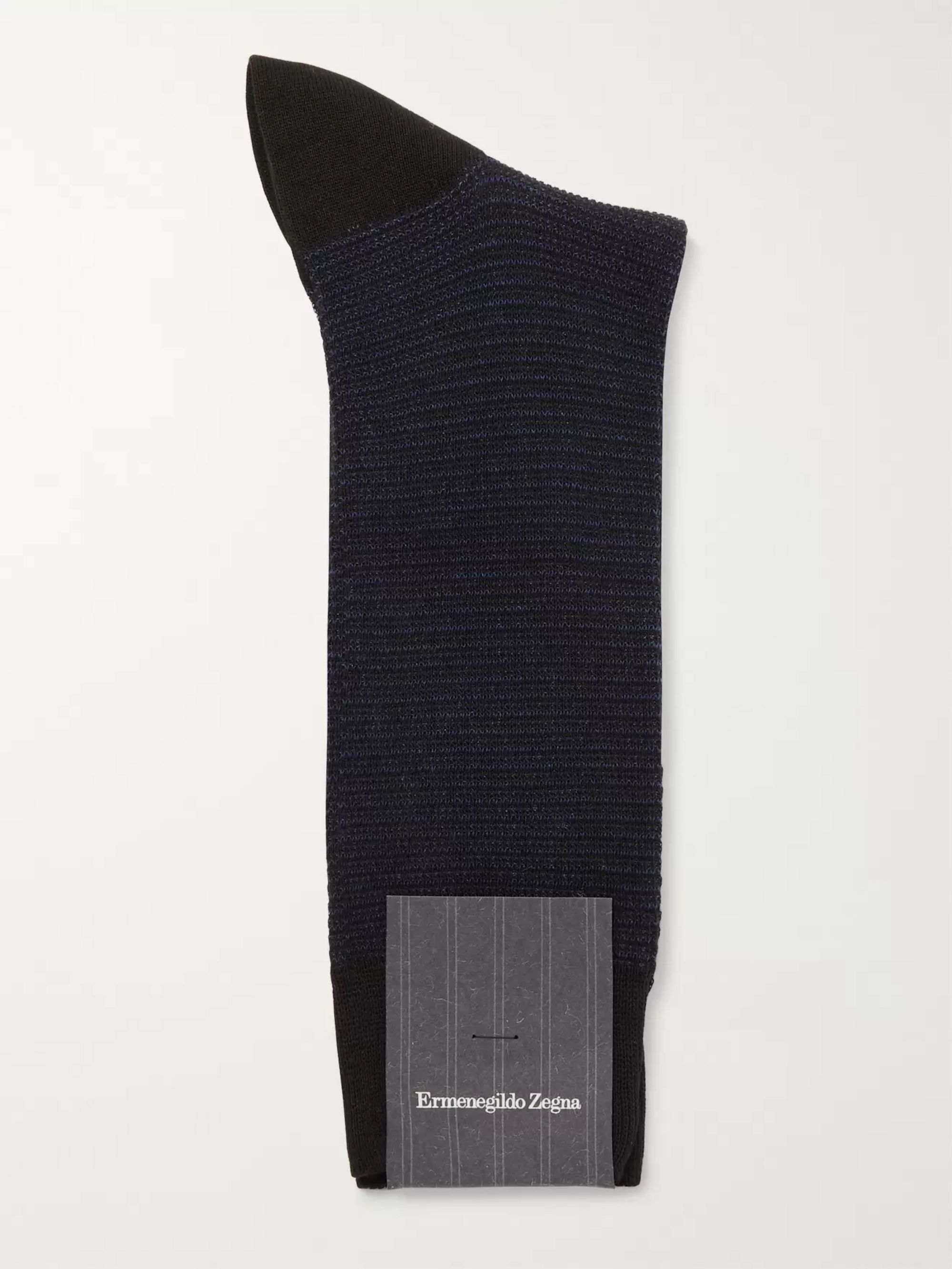Ermenegildo Zegna Striped Stretch Cotton-Blend Socks