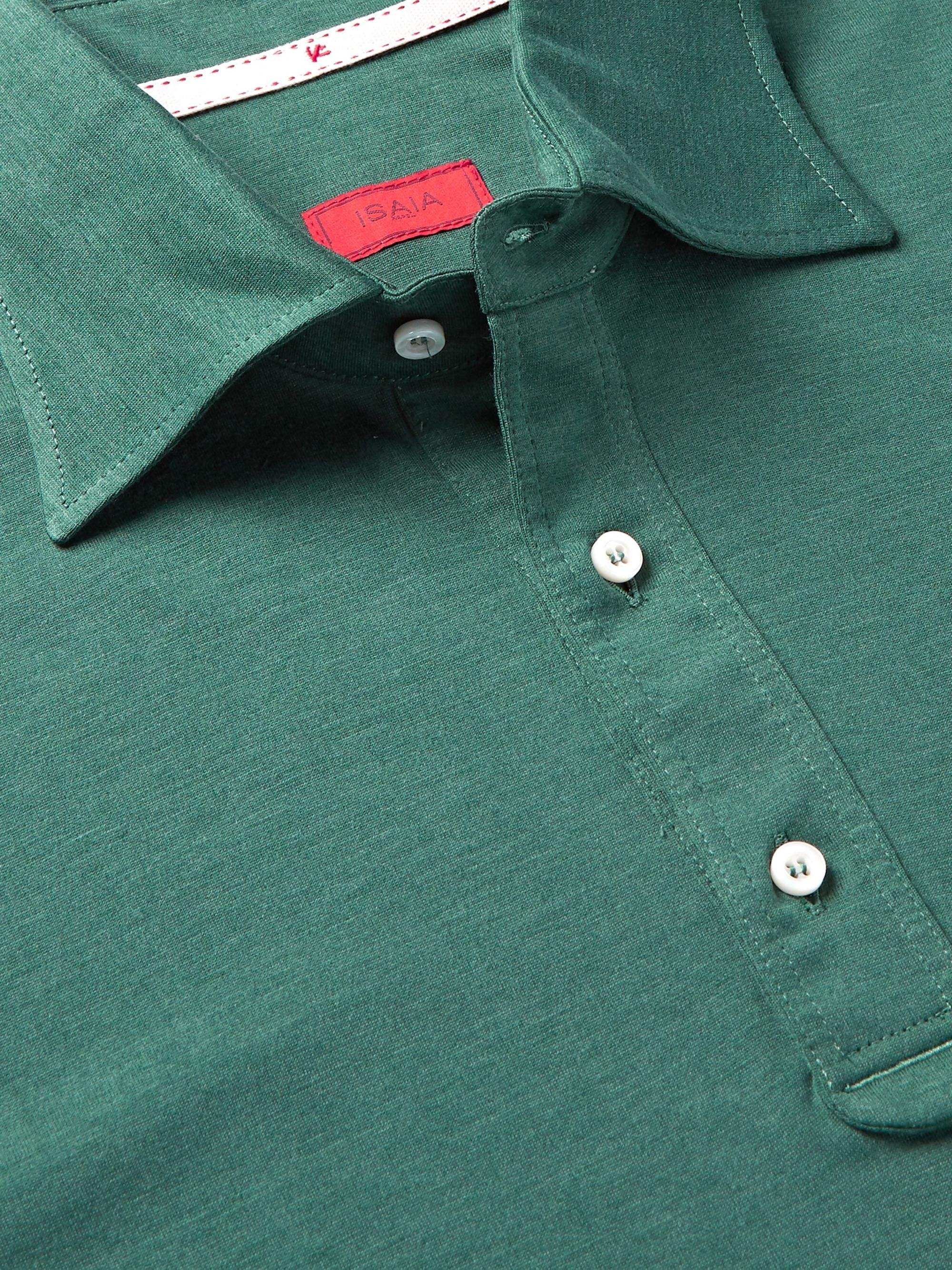 Isaia Silk and Cotton-Blend Jersey Polo Shirt