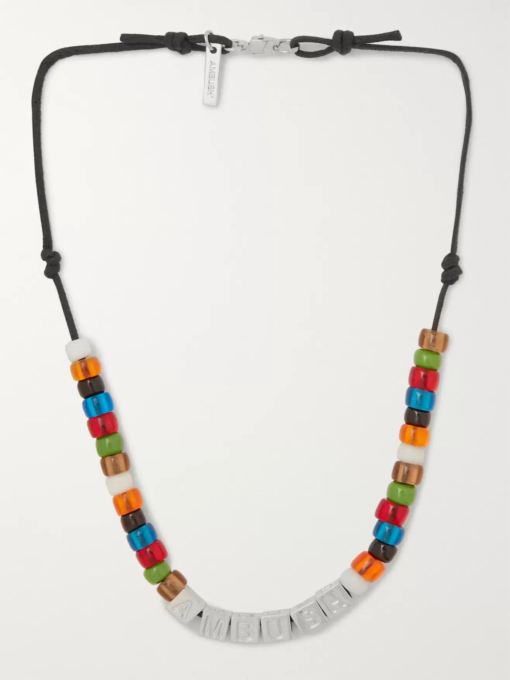 AMBUSH® Cord, Silver-Tone and Bead Necklace