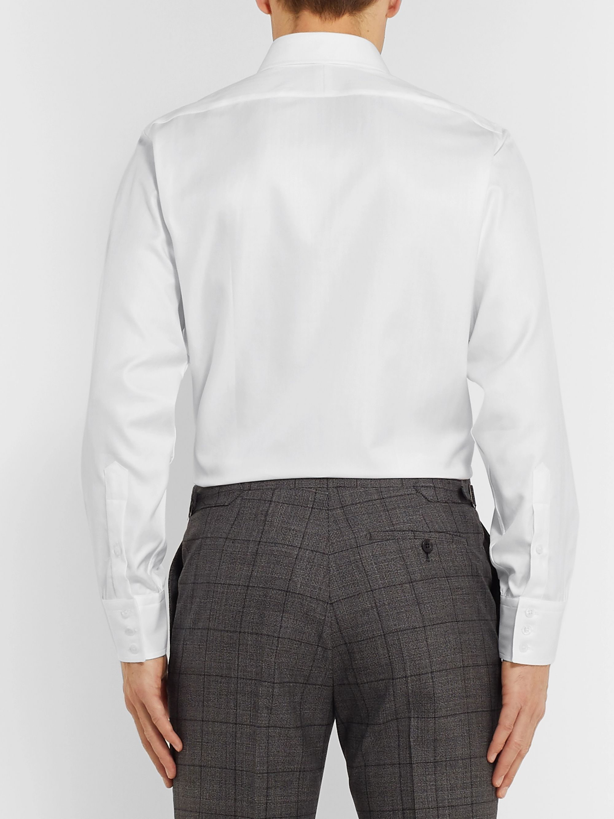 Kingsman + Turnbull & Asser White Herringbone Cotton Shirt