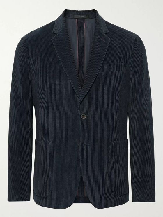 Paul Smith Navy Slim-Fit Cotton and Cashmere-Blend Corduroy Suit Jacket