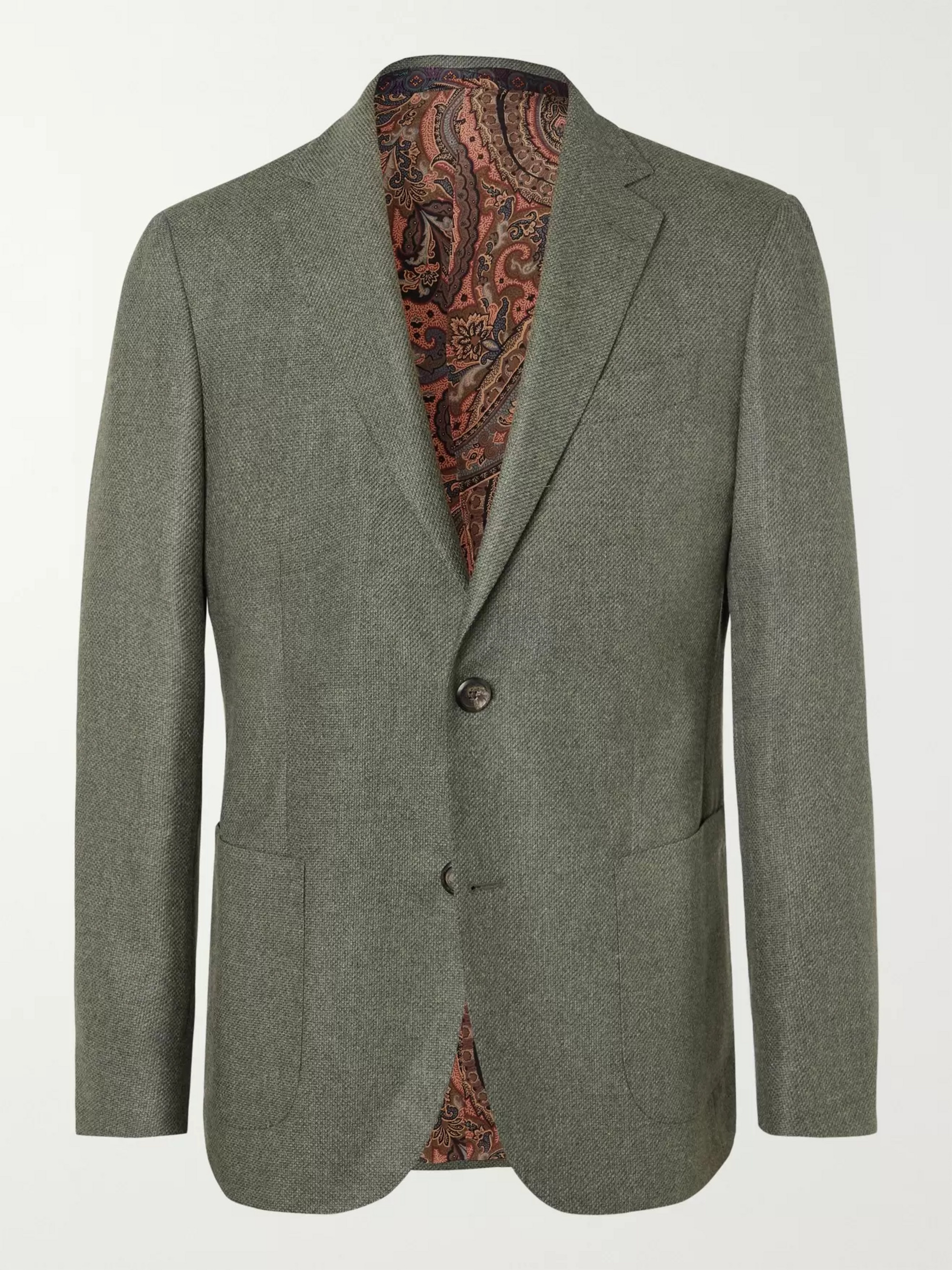 Etro Green Slim-Fit Wool and Cashmere-Blend Hopsack Blazer
