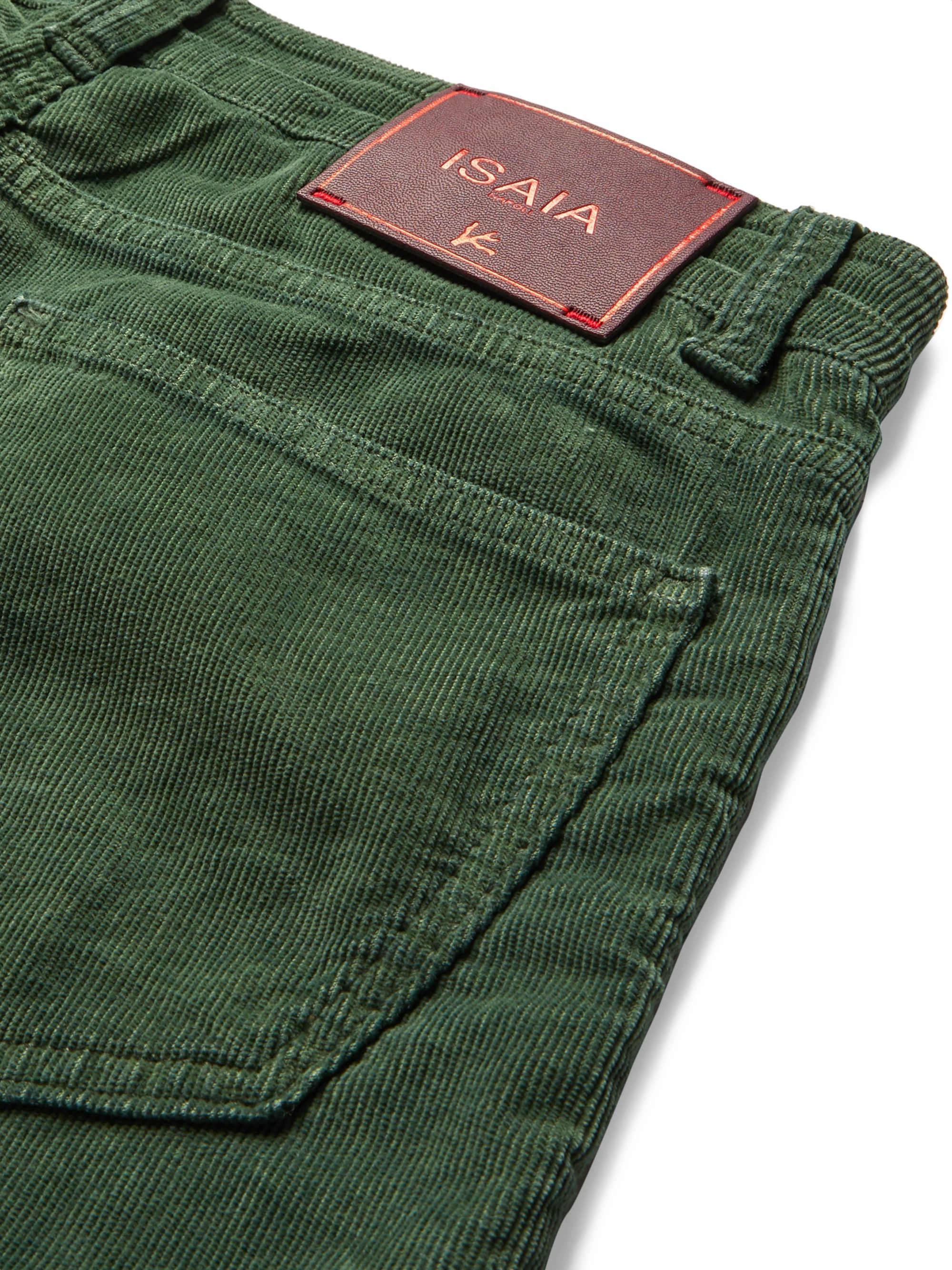Isaia Slim-Fit Cotton-Blend Corduroy Trousers