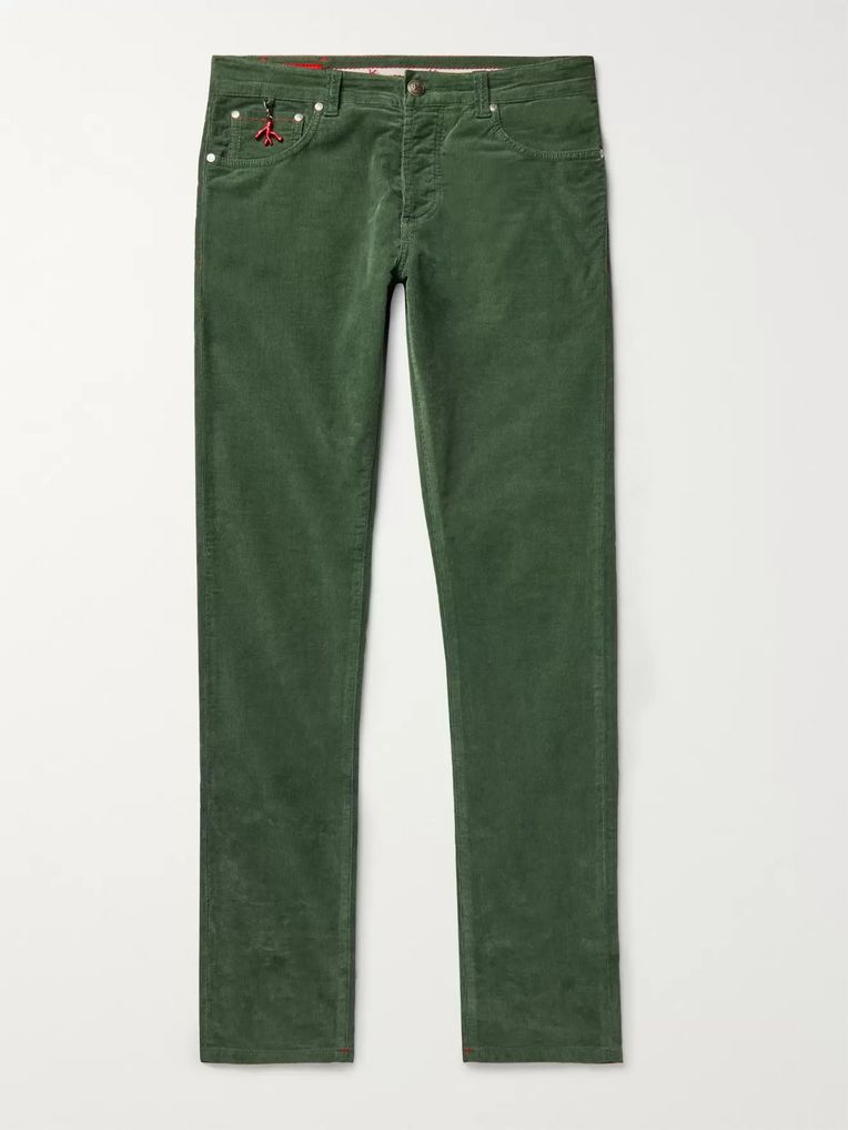 Isaia Charcoal Slim-Fit Cotton-Blend Corduroy Trousers
