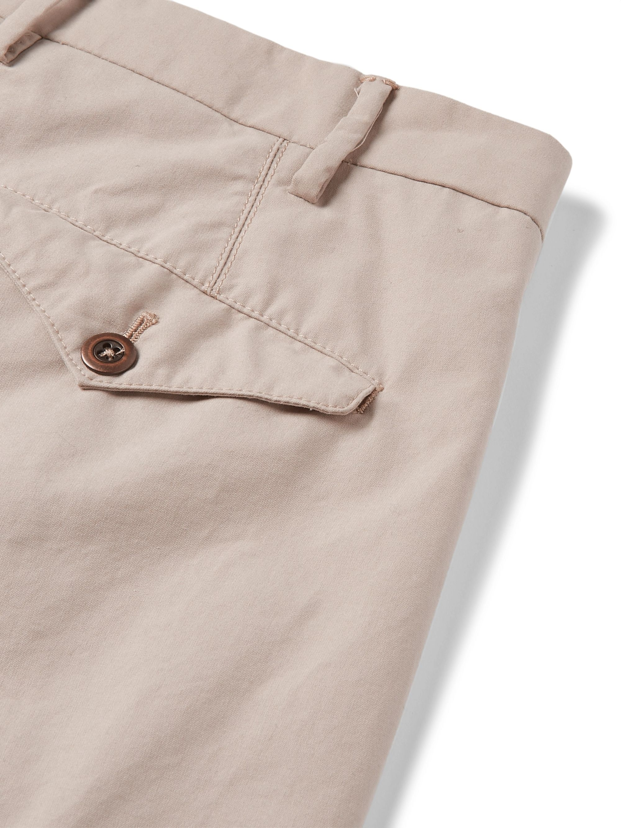 Zanella Slim-Fit Pleated Washed-Cotton Trousers