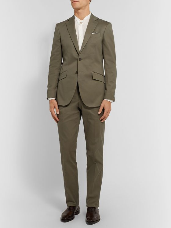 Richard James Army-Green Stretch-Cotton Twill Suit Jacket