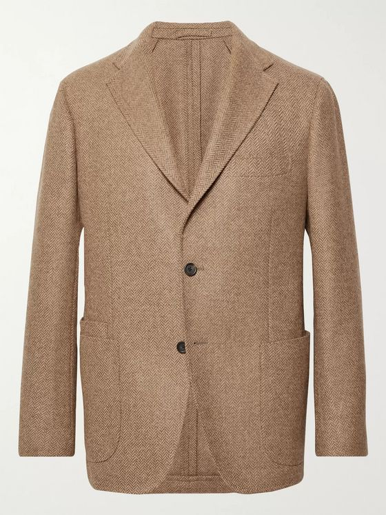 Drake's Light-Brown Herringbone Wool-Tweed Blazer