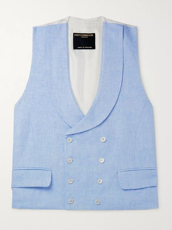 Favourbrook Sky-Blue Double-Breasted Linen Waistcoat