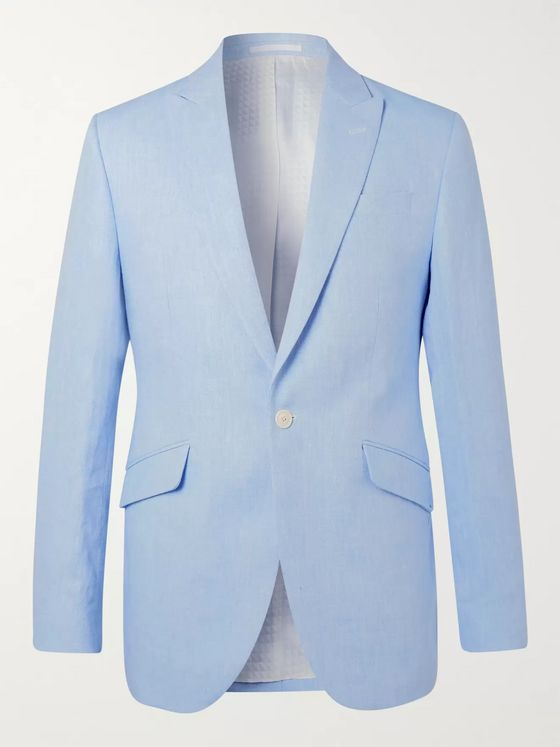 Favourbrook Navy Slim-Fit Linen Suit Jacket