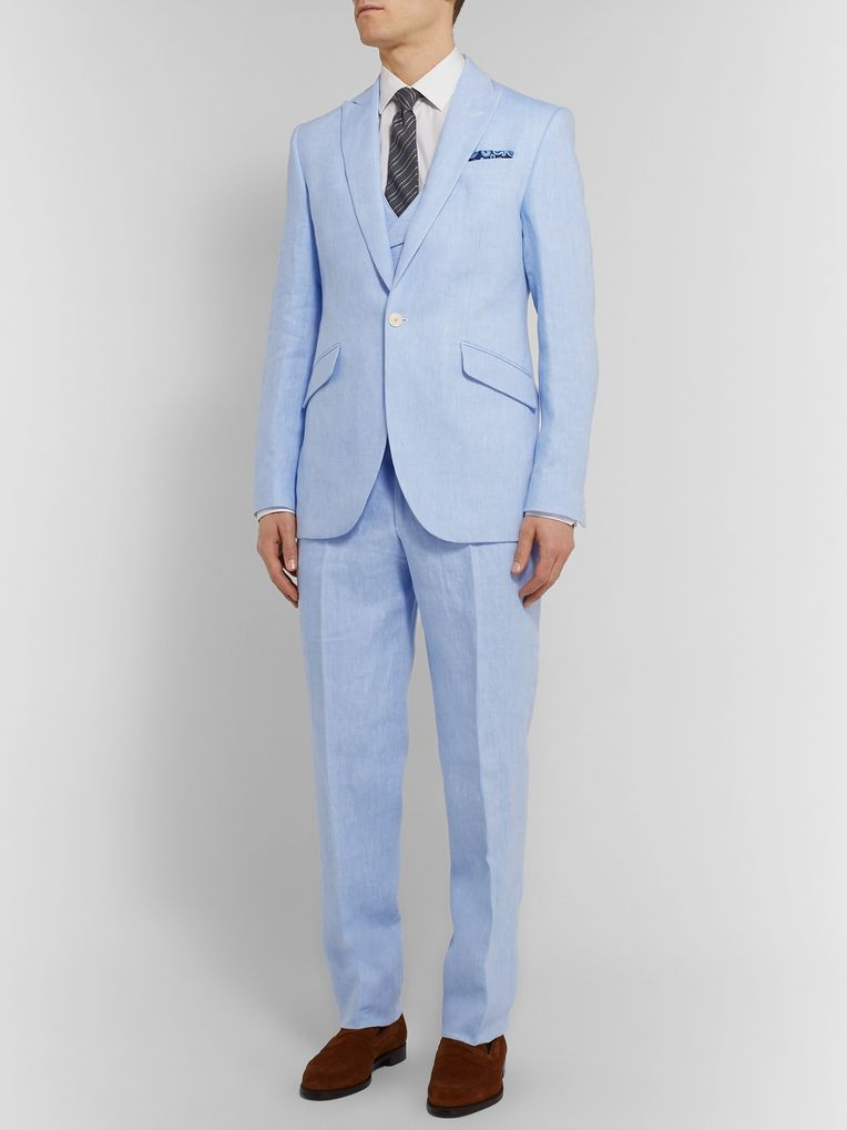 Favourbrook Sky-Blue Linen Suit Jacket