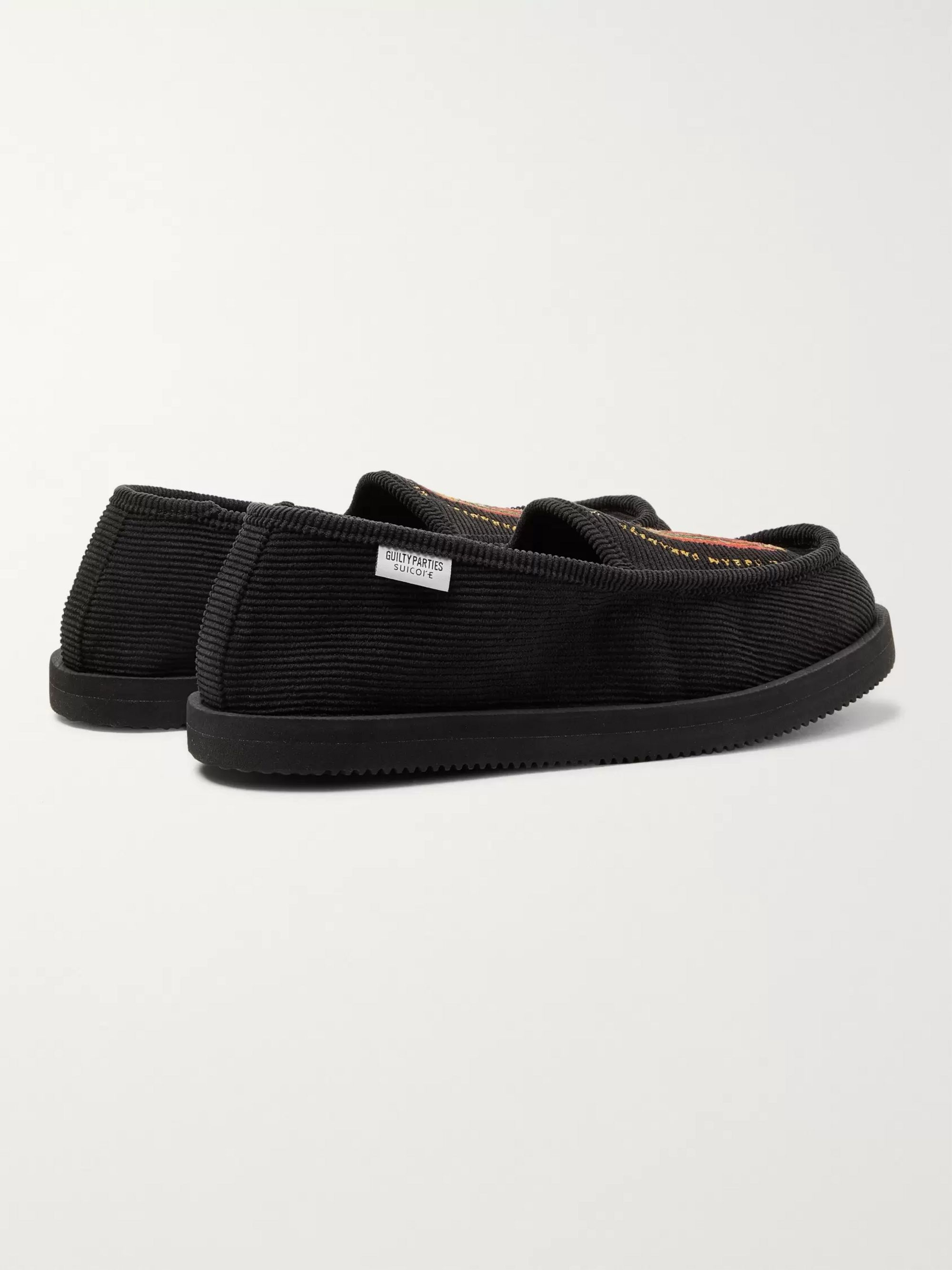 Wacko Maria + Suicoke Deebo Embroidered Cotton-Blend Corduroy Loafers