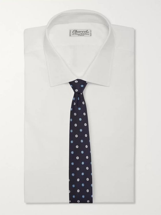 Turnbull & Asser 8cm Embroidered Silk-Jacquard Tie