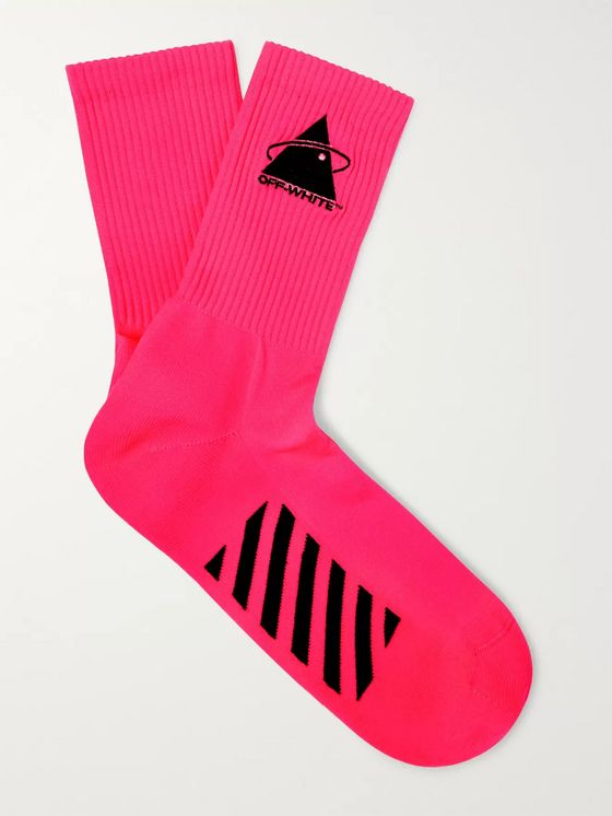 Off-White Embroidered Logo-Intarsia Stretch-Knit Socks