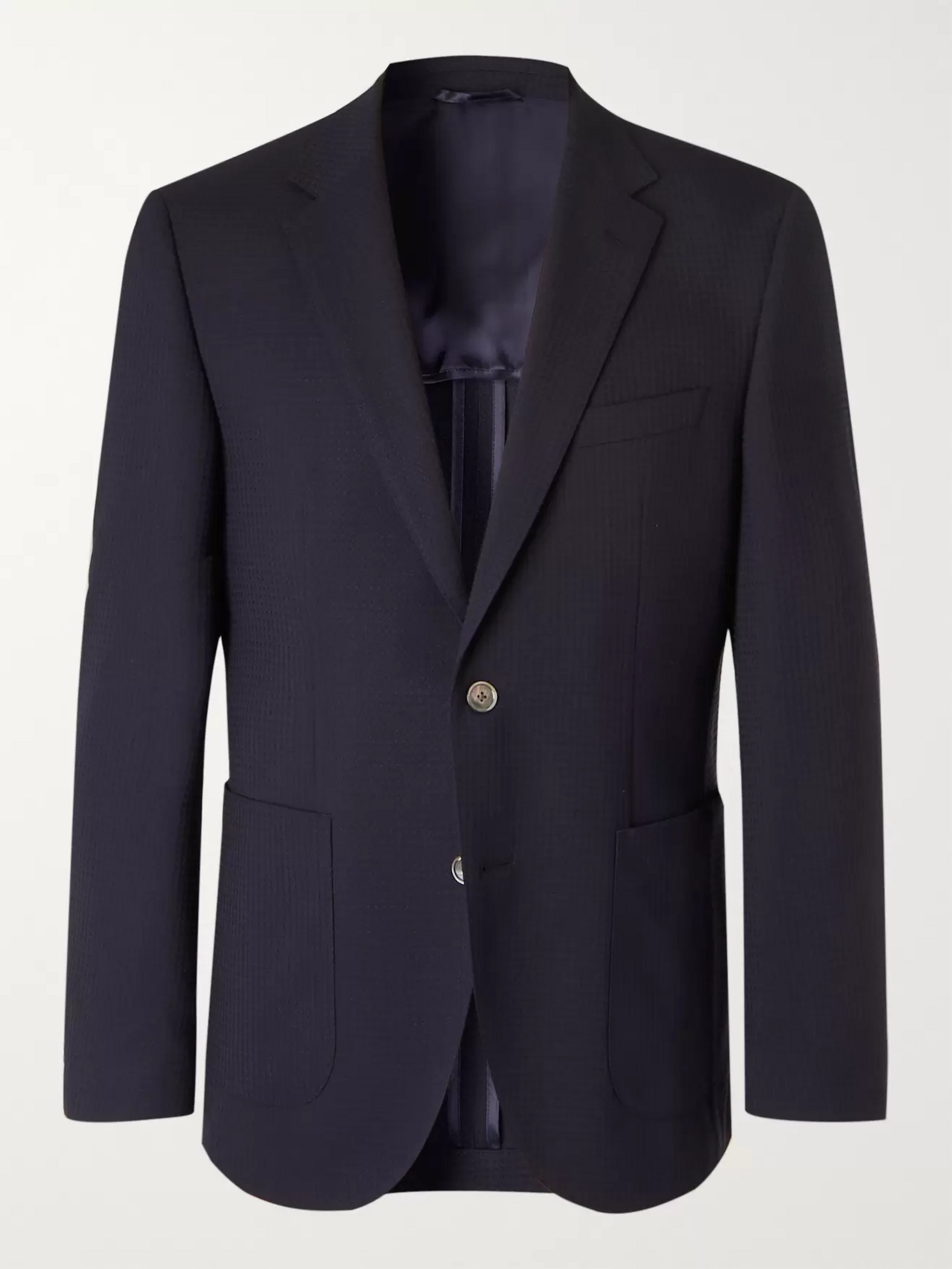 Hugo Boss Navy Slim-Fit Hopsack Blazer