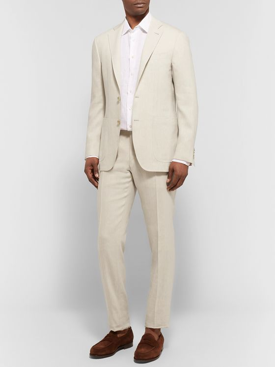 Canali Blue Kei Slim-Fit Linen and Wool-Blend Suit Trousers