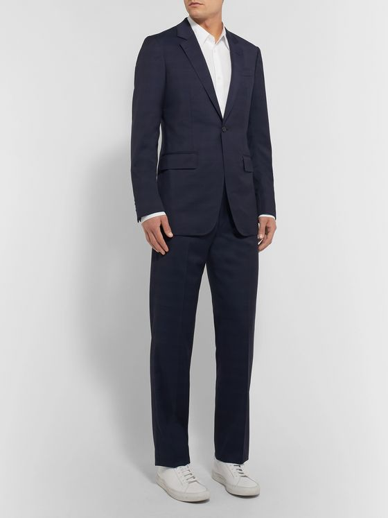 Gabriela Hearst Navy Martin Slim-Fit Checked Wool Trousers
