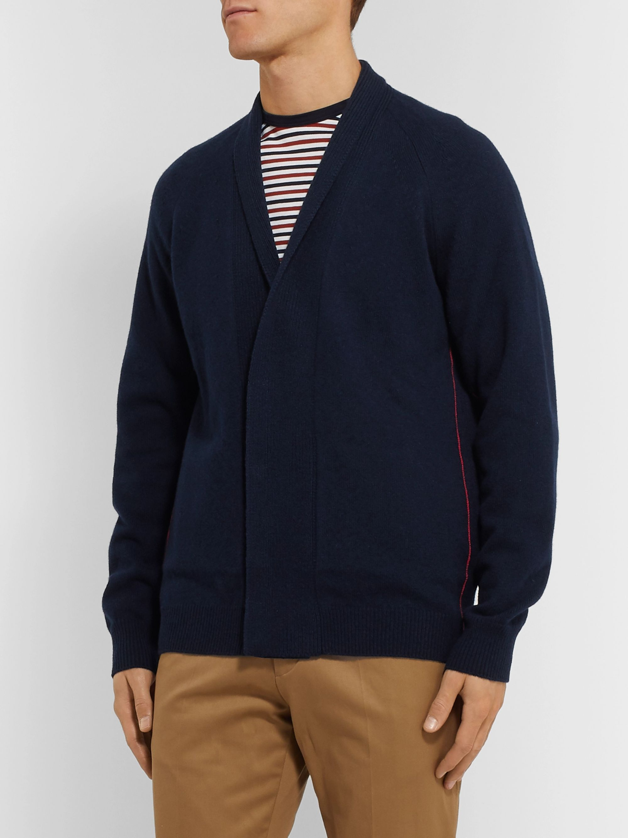 Paul Smith Shawl-Collar Striped Wool Cardigan