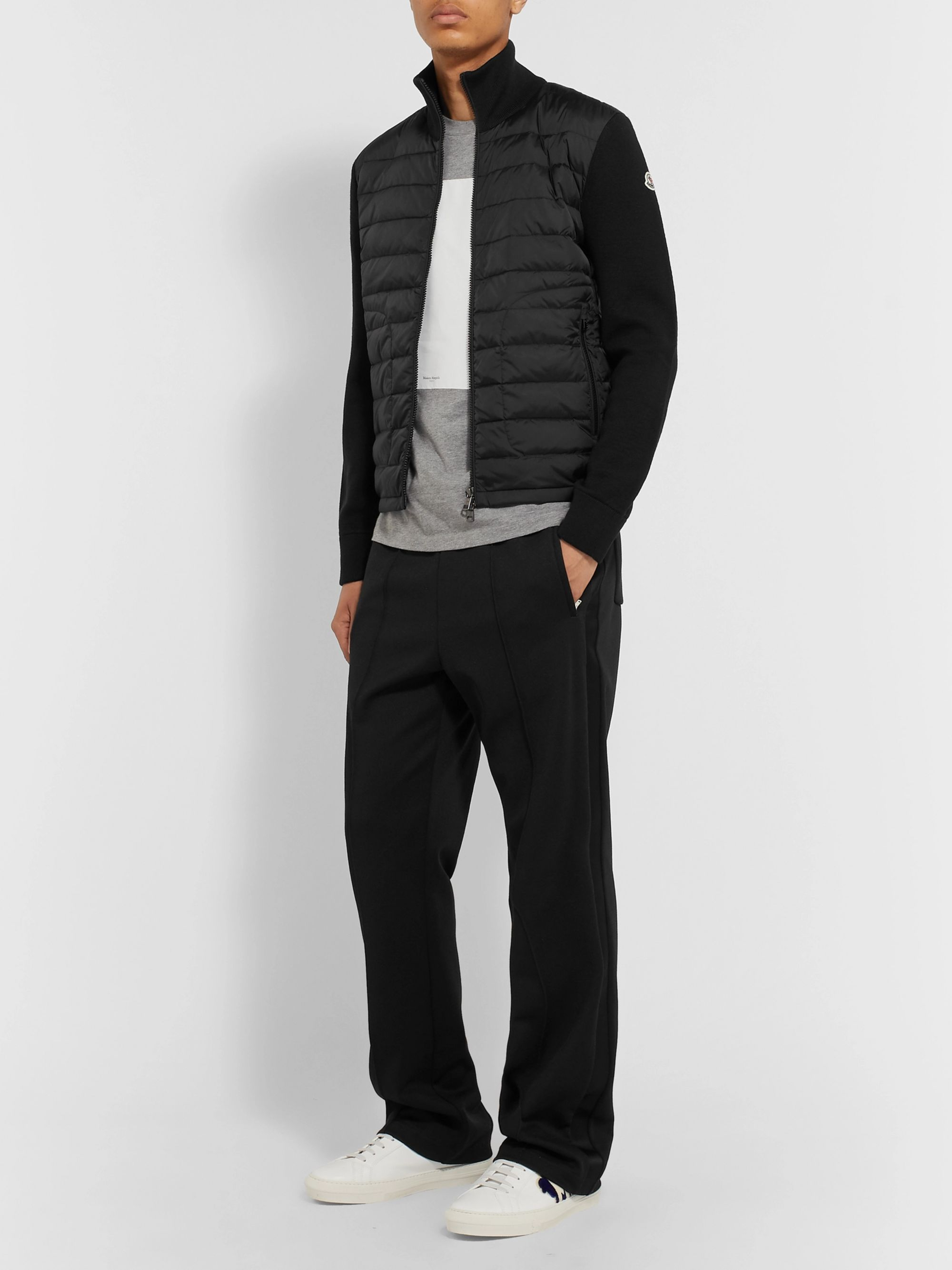 Moncler Panelled Virgin Wool-Blend and Quilted Shell Down Zip-Up Cardigan