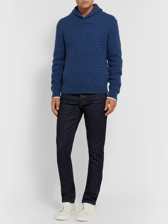 Isaia Slim-Fit Shawl-Collar Cable-Knit Cashmere Sweater