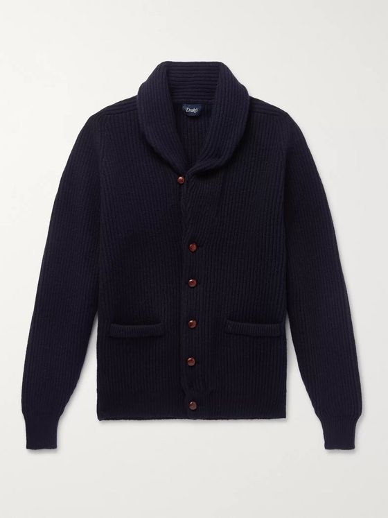 Drake's Slim-Fit Shawl-Collar Ribbed Lambswool Cardigan