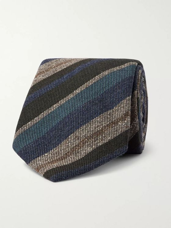 Brioni 8cm Striped Wool and Silk-Blend Tie