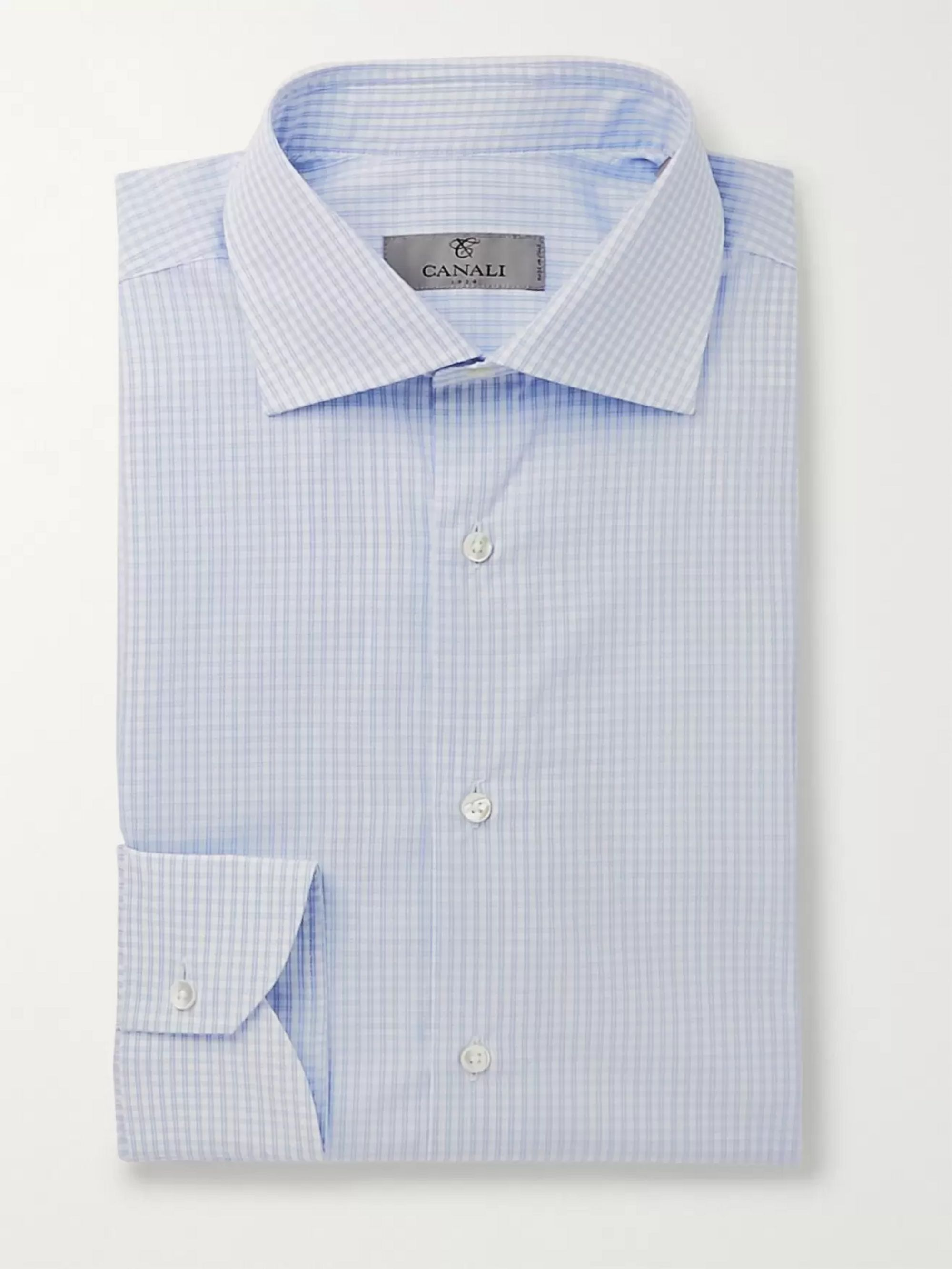 Canali Blue Slim-Fit Micro-Checked Cotton-Poplin Shirt
