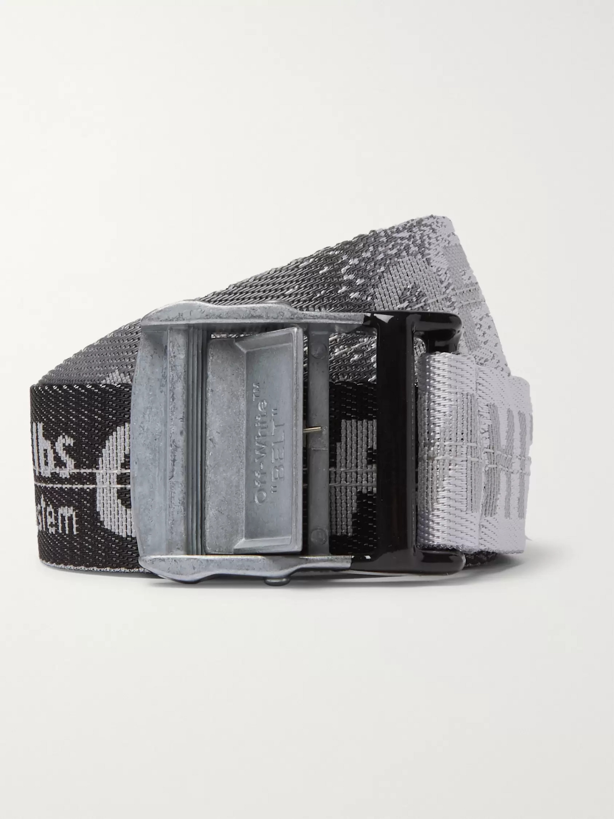 Off-White 3.5cm Tonal-Grey Industrial Logo-Jacquard Webbing Belt