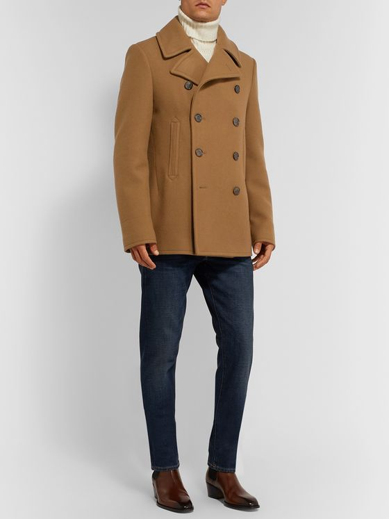 Ralph Lauren Purple Label Fullerton Double-Breasted Wool and Cashmere-Blend Peacoat