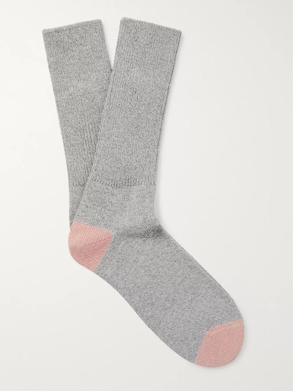 Mr P. Two-Tone Mélange Cotton-Blend Socks