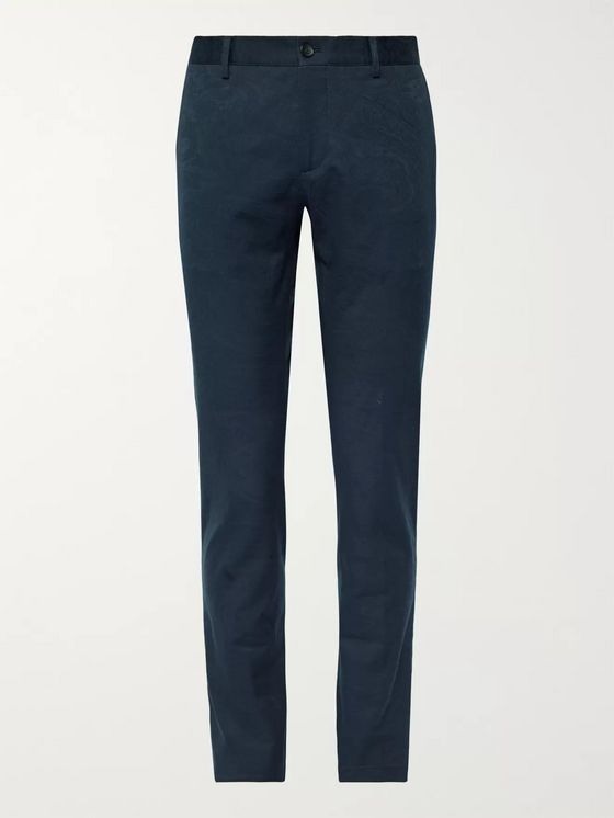 Etro Midnight-Blue Slim-Fit Paisley Stretch Cotton-Jacquard Trousers