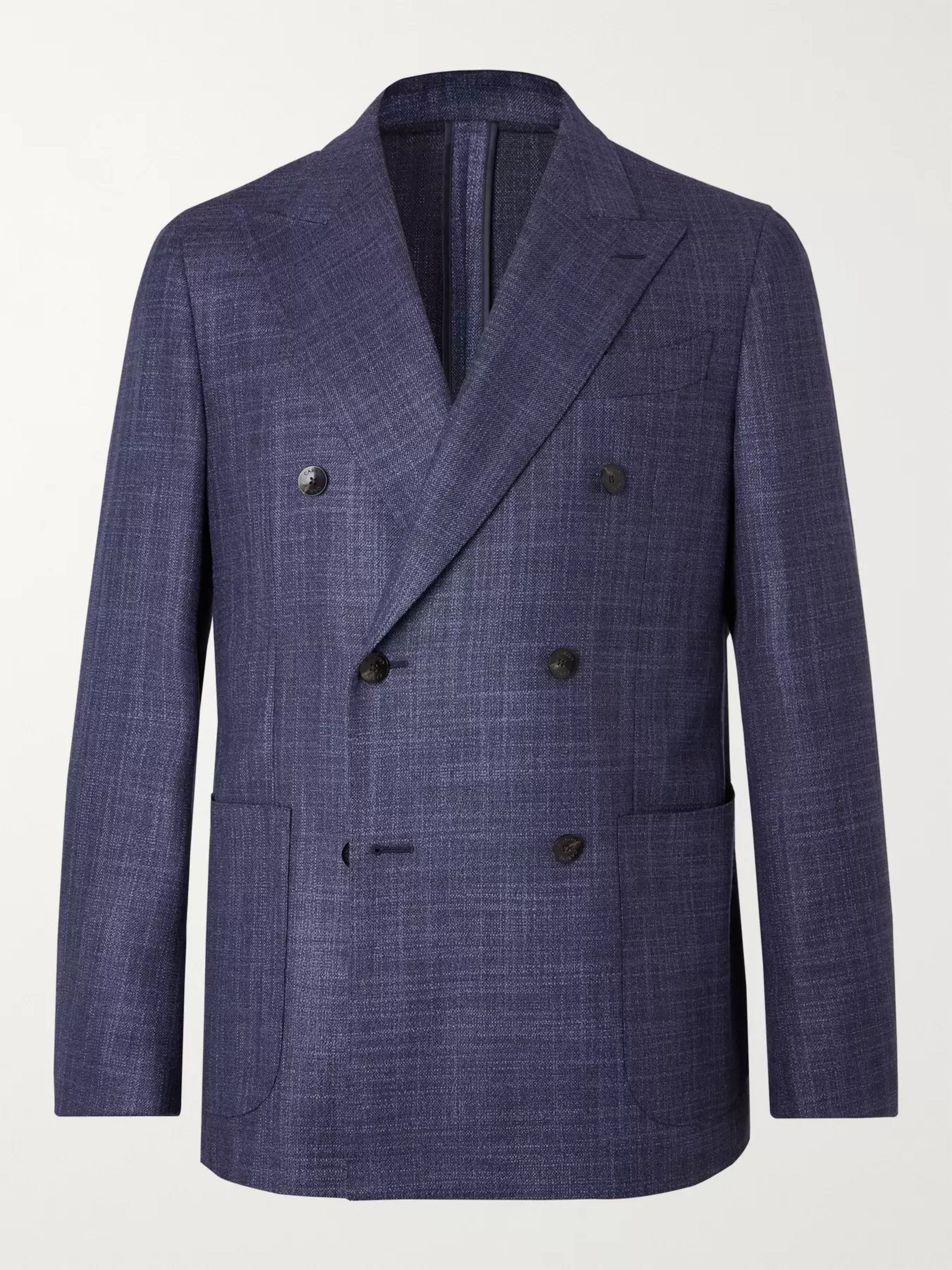 Caruso Navy Double-Breasted Wool and Silk-Blend Blazer