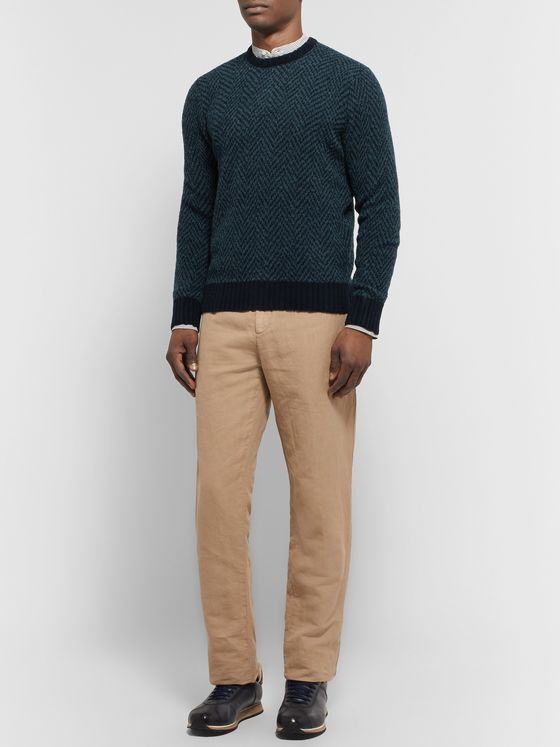 Lardini Slim-Fit Herringbone Wool-Blend Sweater