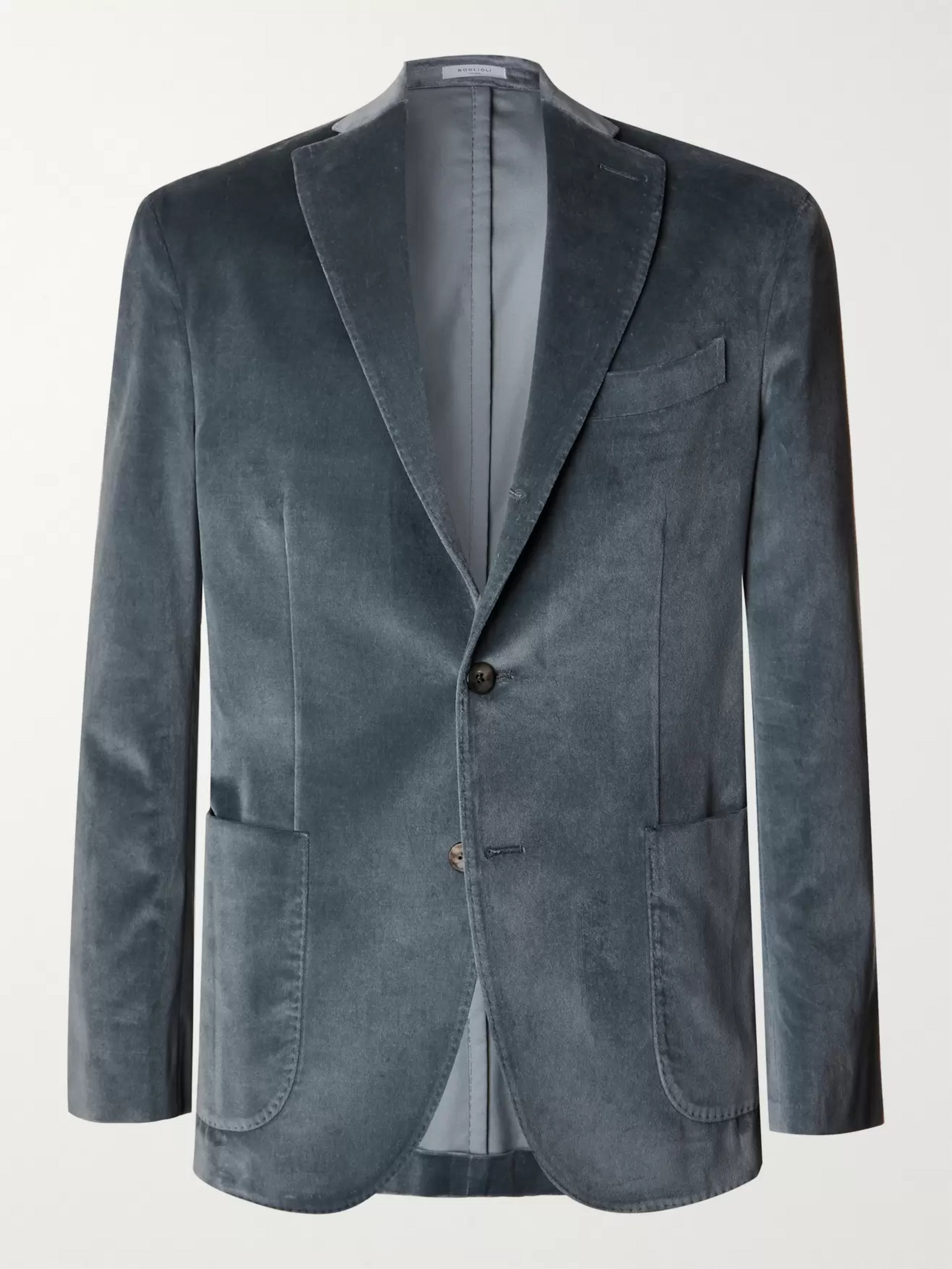 Boglioli Green K-Jacket Slim-Fit Unstructured Cotton-Blend Velvet Blazer